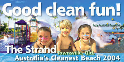 The Strand, Townsville, Australia's cleanest beach 2004.
